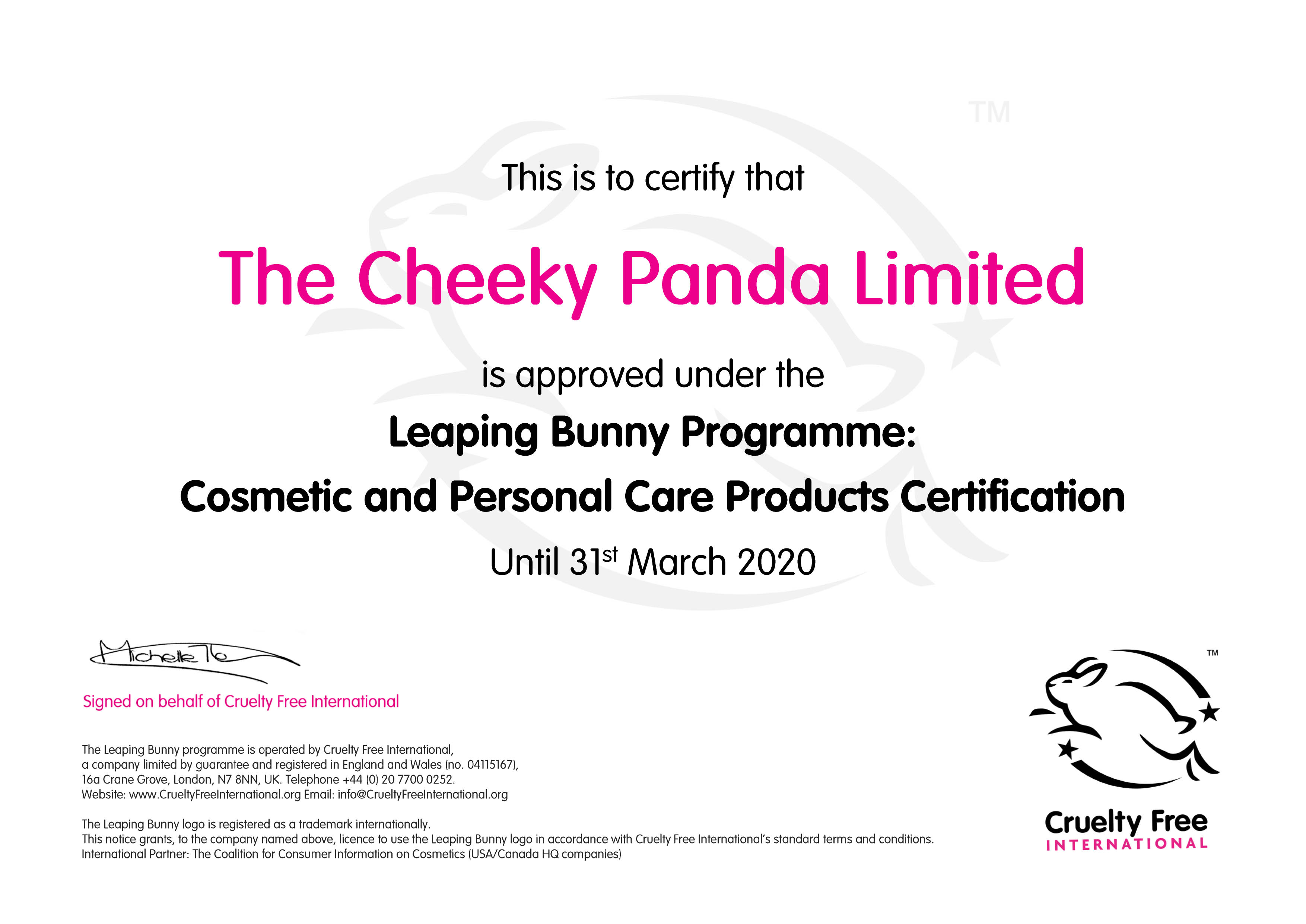 The Cheeky Panda LB certificate